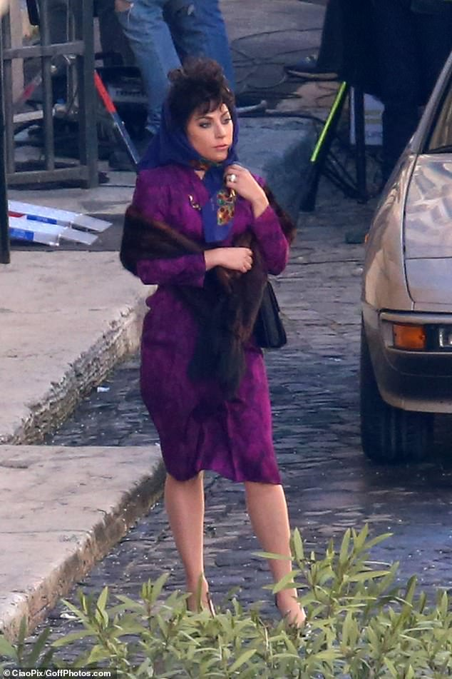 Purple reign: The star cut an impossibly glamorous figure as she transformed into her role asPatrizia Reggiani