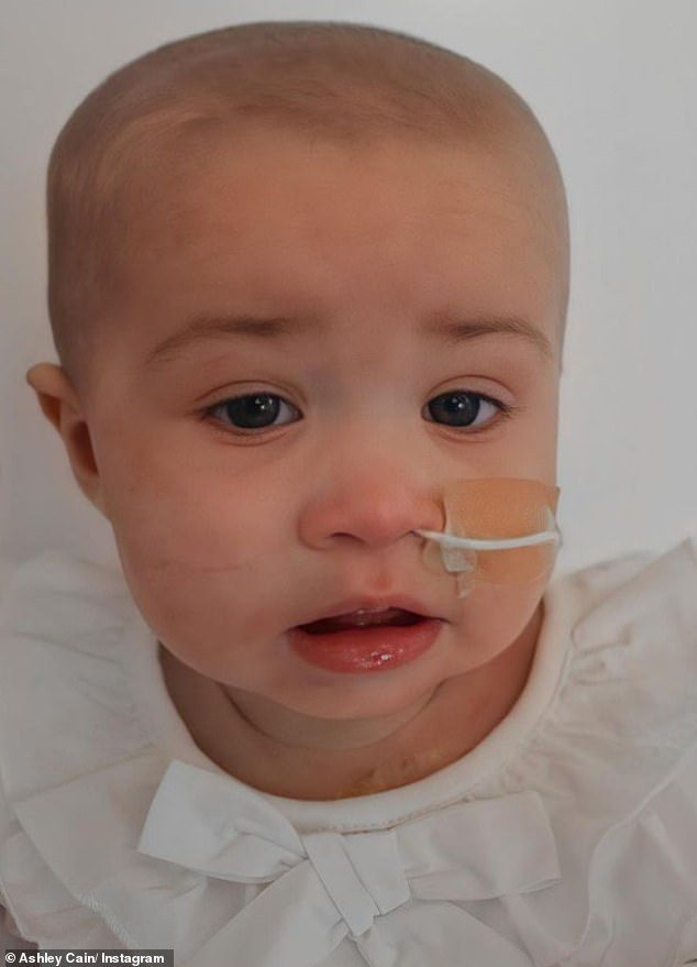 Poor baby: Doctors have found tumours in her stomach, her spleen and her kidneys, in addition to tumours in her brain. And sadly, the chemotherapy isn't working