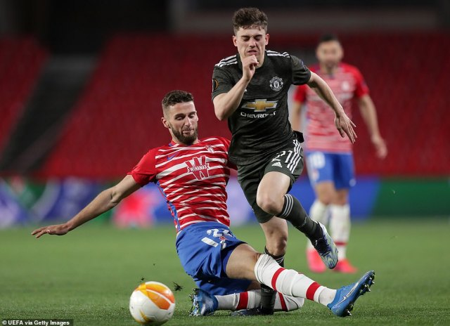 Daniel James was clattered in a challenge by Domingos Duarte, who was forced off after picking up an injury after the blow