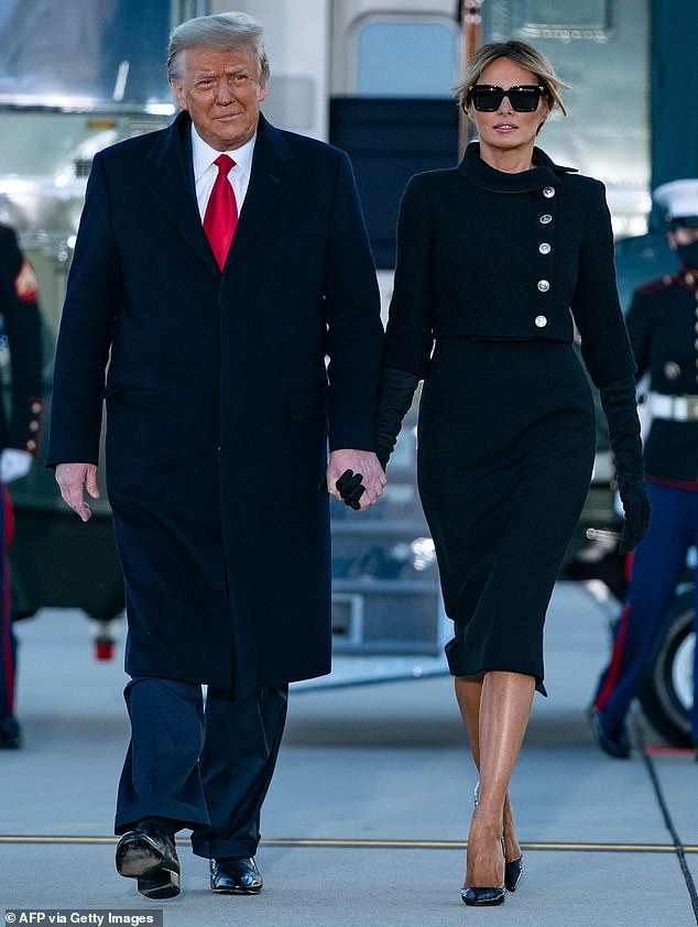 Saying goodbye: Melania Trump has maintained an incredibly low public profile since she and her husband, former President Donald Trump, left the White House on January 20