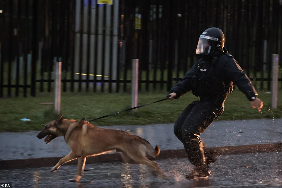 A PSNI officer with a dog straining at the leash on the Springfield road tonight