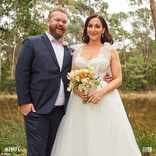 Allegations: Ms Jennings, who appeared on season seven of MAFS last year, claims she was offered a six-figure position 'to be part of a presenting trio on Illawarra's No. 1 radio station' but the deal was nixed when Nine stepped in. Pictured with her'husband' Luke Eglin