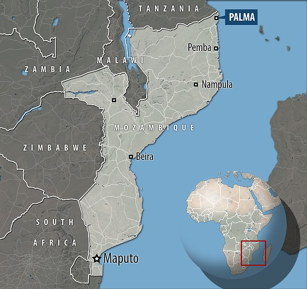 The nationalities of the 12 people found 'tied up and beheaded' in the northern town of Palma (pictured) cannot yet be confirmed, a local police commander said