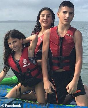Siblings Sienna Abdallah, eight, Angelina, 12, and Antony, 13