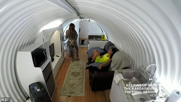 Cylindrical container: Inside the cylindrical container they planned to sleep in, conditions were austere with low ceilings, little space, dried food, spartan gray beds, and no TV, though there was a computer