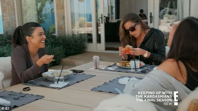 Funny friend:Kourtney laughed uproariously with Addison about something their friend Simon had said but failed to smile when Khloé cracked a joke