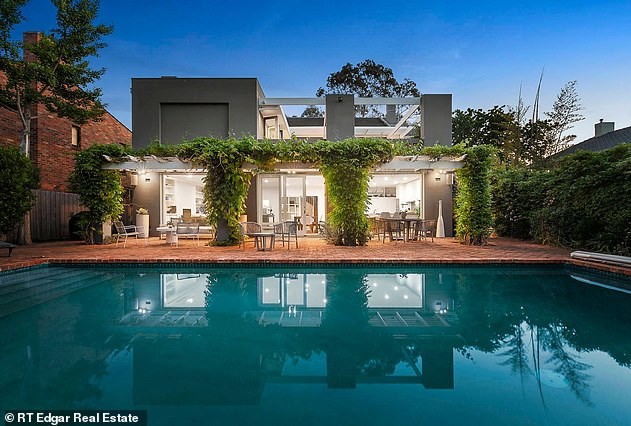 Not for sale:Her manager, Titus Day, told Daily Mail Australia in January that Arena had decided to take her Toorak property off the market. Pictured: the backyard of her home