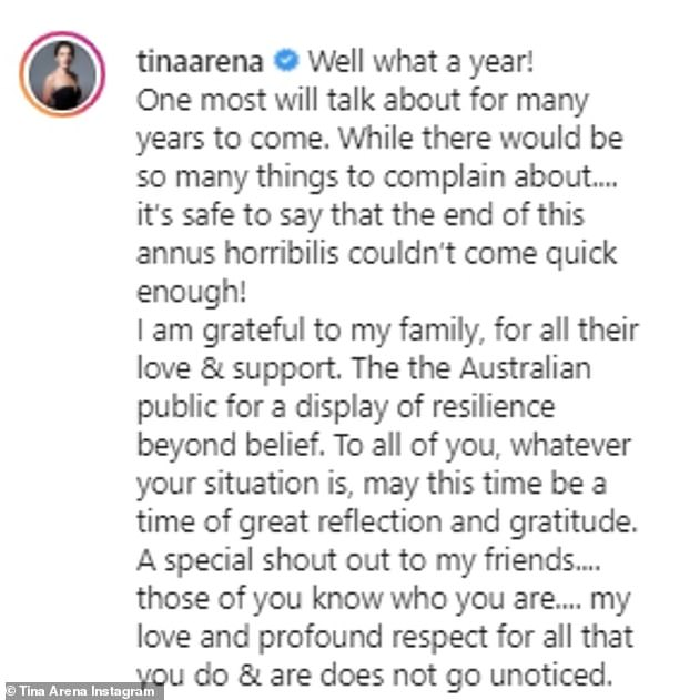 Farewell, 2020:It comes after the musician reflected on her 'annus horribilis' (Latin for 'horrible year') in a post shared to Instagram last month (pictured)