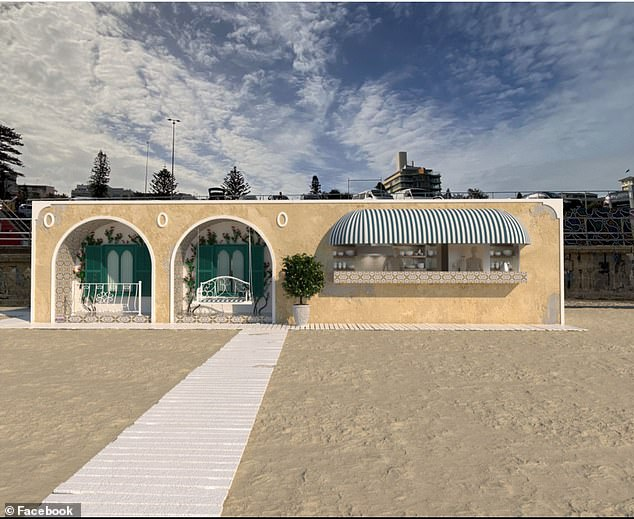 How the Amalfi Beach Club would appear on Bondi Beach - if the controversial development application is approved by Waverley Council