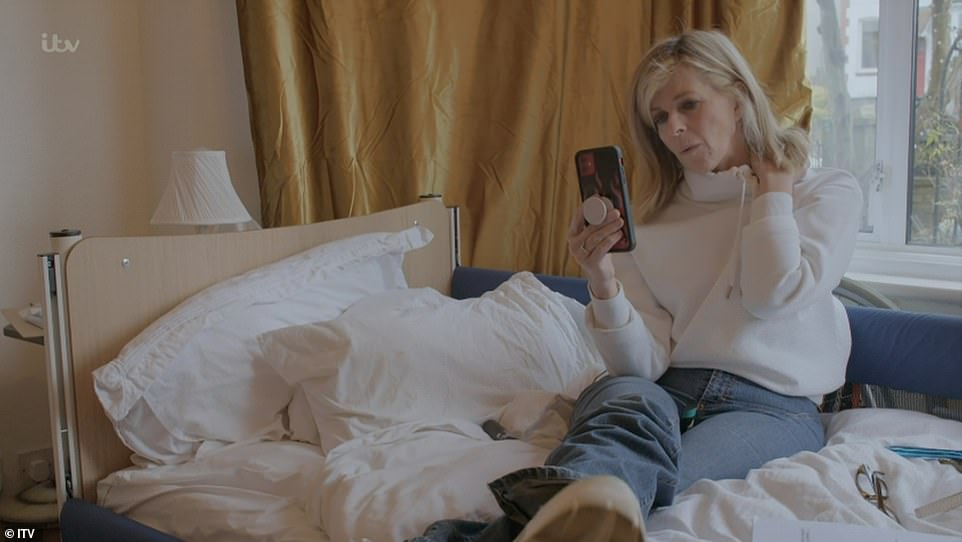 Accessible: The footage showed the presenter making their North London property wheelchair accessible and installed a hospital bed in the lounge, pictured, as the virus has damaged the former lobbyist's muscles