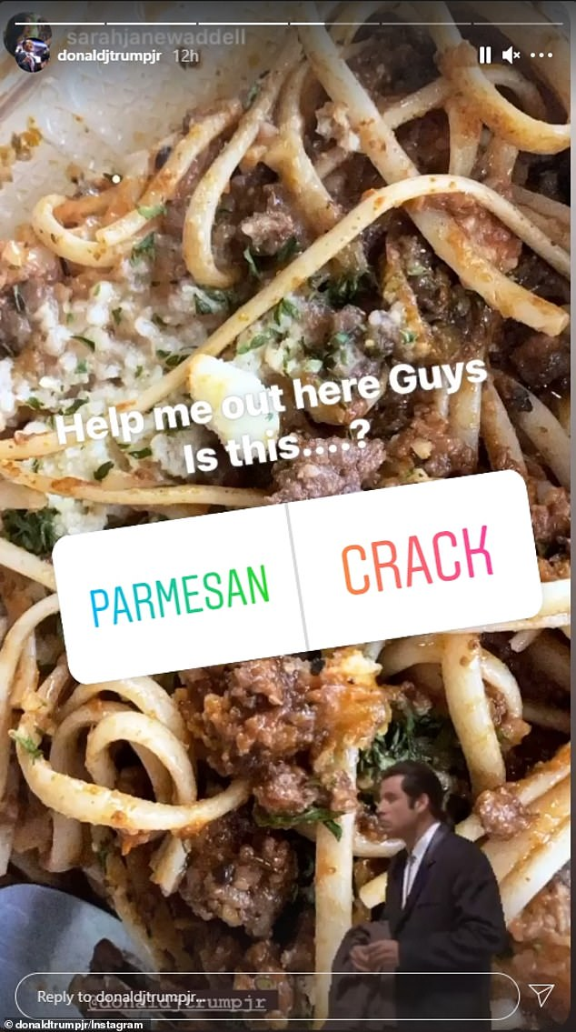 Trump Jr. shared a photo to his Instagram stories of a bowl of pasta with parmesan sprinkled over the top. 'Help me out here guys. Is this parmesan or crack?' he wrote, allowing his Instagram followers to vote in a poll