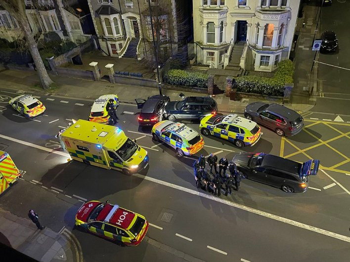 The scene in Chiswick on Wednesday night, where at least four police vehicles were involved in boxing in the driver