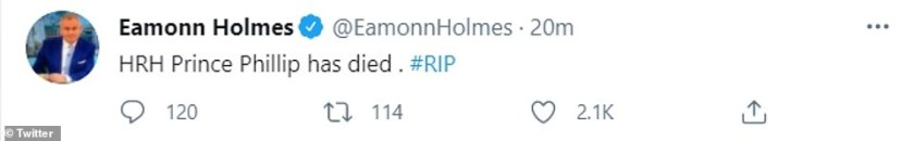 Upset: Eamonn Holmes, who had been in the midst of presenting This Morning when the news broke, tweeted the news