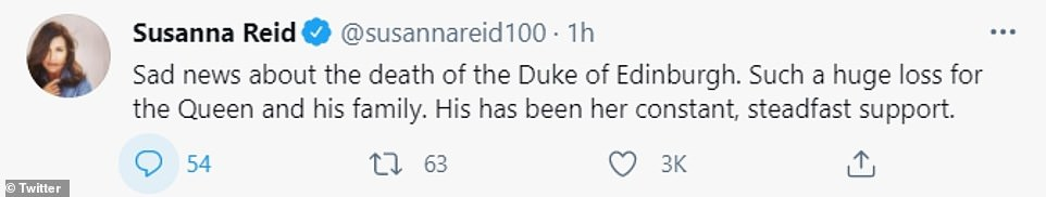 Emotional: Susanna Reid also tweeted a tribute to the late Duke of Edinburgh, describing it as a 'huge loss' for the Royal Family