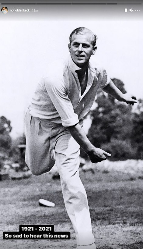 In his heyday: Amanda Holden also shared a classic image of Philip enjoying a game of cricket during his younger years
