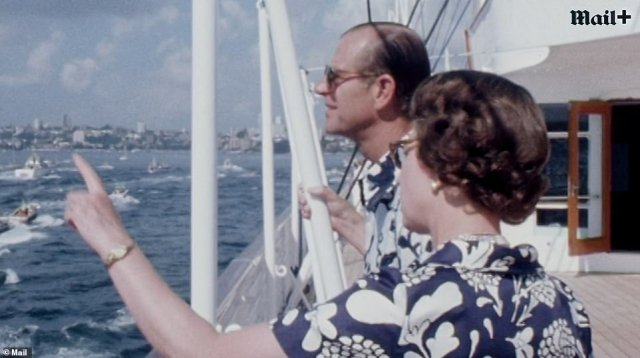 The Queen and Prince Philip married in the 1940s and saw together the rapid advances in modern life from man walking on the moon for the first time to the invention of the internet. The pair are seen here on a boat as they wear matching shirts
