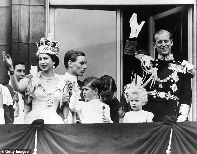 Prince Philip was always there; on the balconies, at the big events, in times of joy and crisis, standing by his Queen. The Queen waves from the balcony of Buckingham Palace, with the Duke by her side, after her Coronation in June 1953, with their children Prince Charles and Princess Anne