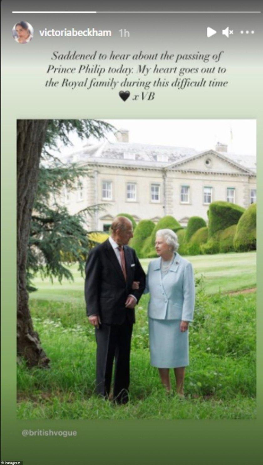 Saddened: Victoria Beckham took to Instagram to share she was saddened to hear of the Duke's passing