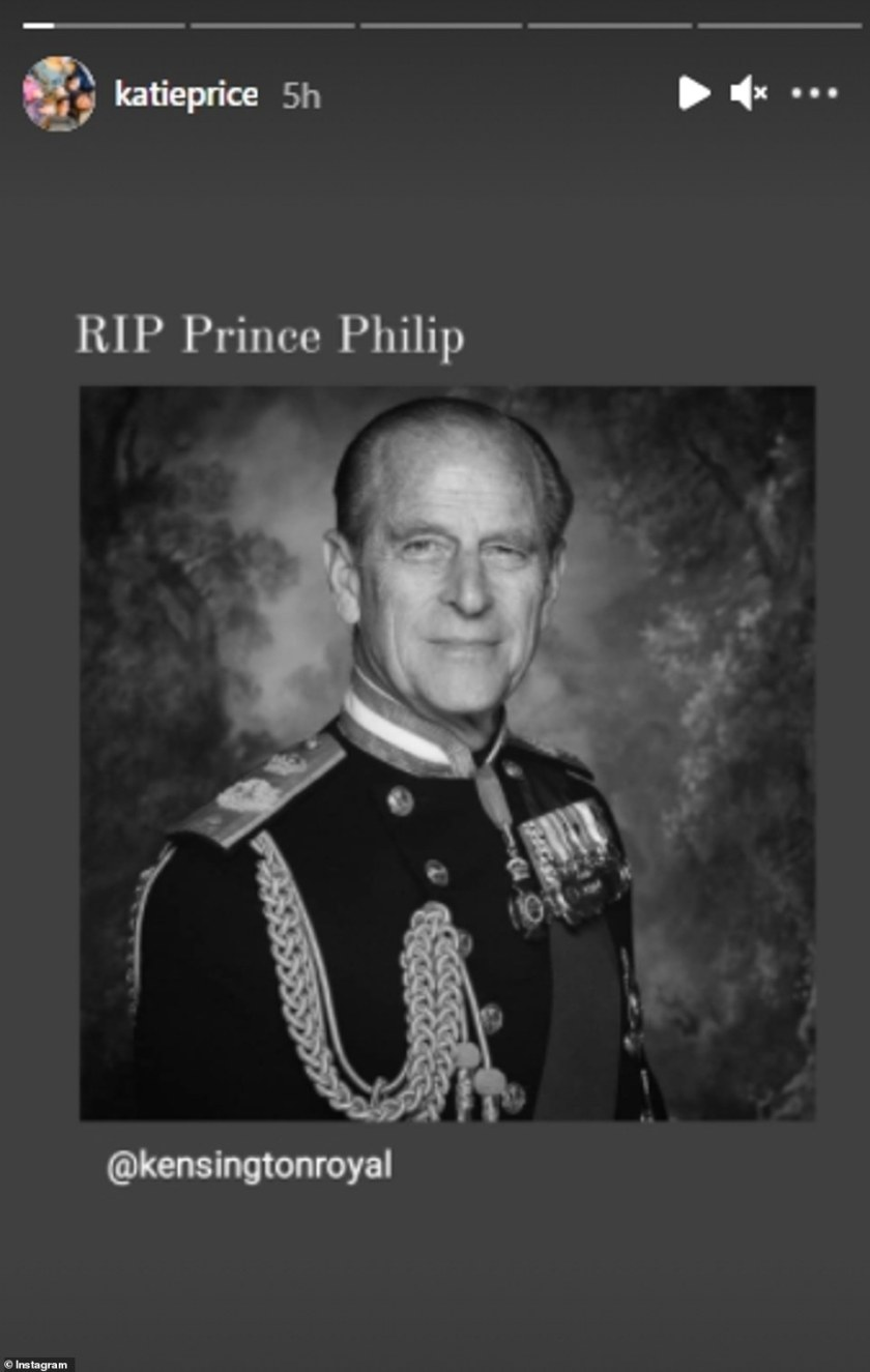 Respectful: Katie Price shared an image of Prince Phillip with a simple message of 'RIP Prince Phillip'