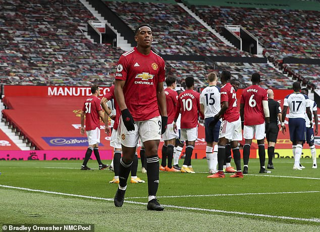 Solskjaer had earlier claimed Anthony Martial (above) was 'conned' by Erik Lamela into getting sent off during Man United's 6-1 defeat at home to Tottenham
