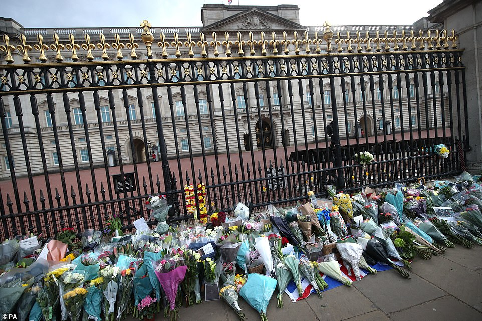 Hundreds of bouquets were left outside Buckingham Palace today. Prince Philip was thelongest-serving consort in British history