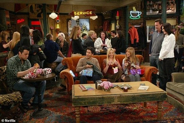Reusing the table? Greg's latest snap also features a wooden table which looked similar to the one inside Central Perk