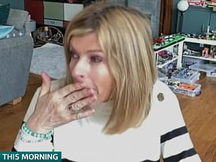 Reunited: Kate was overcome with emotion as she discussed the may 'lovely moments' she has had with husband Derek since he returned home from hospital