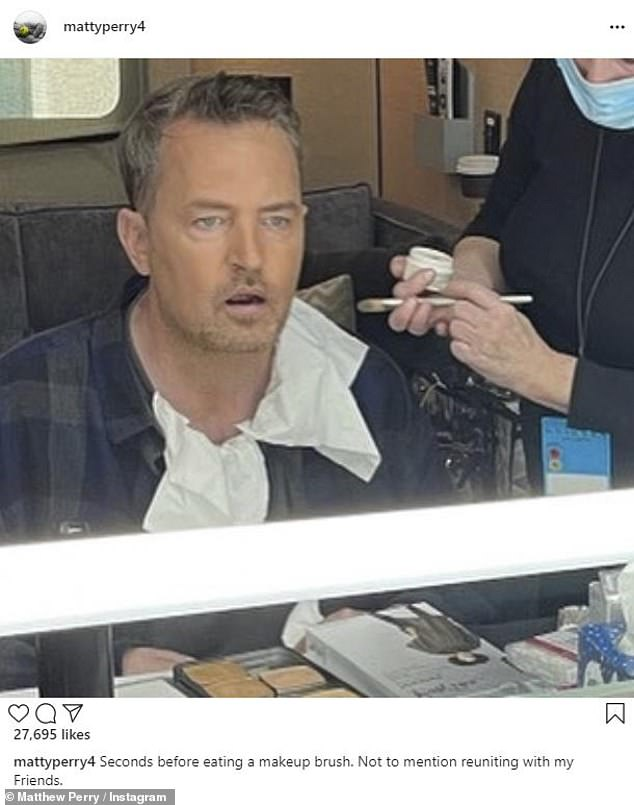 Back at it: Matthew Perry, 51, shared a goofy photo of himself in the makeup chair on Friday, making it the first official confirmation that the Friends reunion is filming
