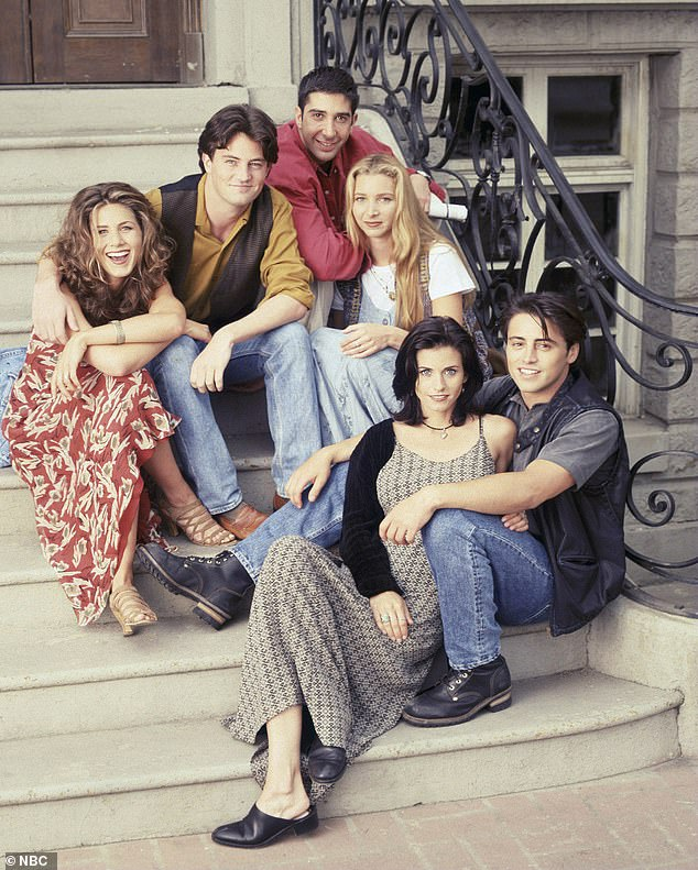 Having a laugh: 'Seconds before eating a makeup brush,' he joked, adding, 'Not to mention reuniting with my Friends'; publicity still for Friends