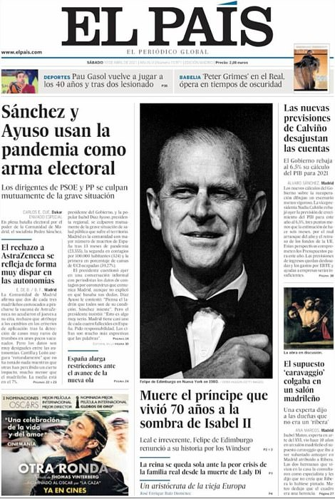 El Pais's frontpage showed him in black tie with the headline: 'The prince who lived 70 years in the shadow of Elizabeth II dies'