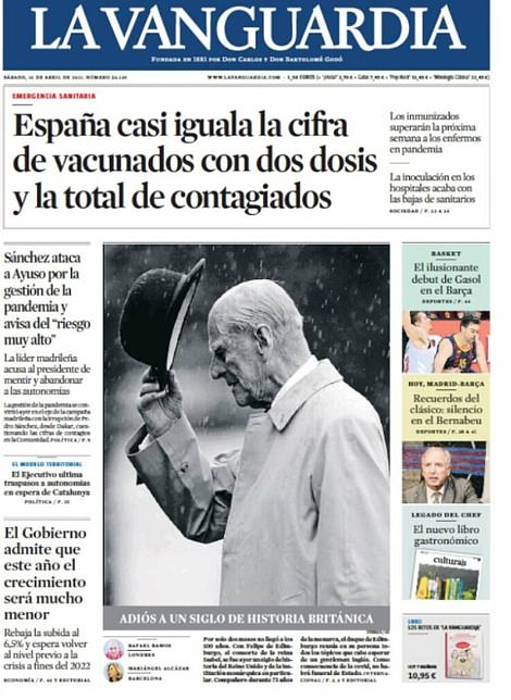 Catalonia's La Vanguardia honoured the 99-year-old duke with the words: 'Goodbye to a century of British history'