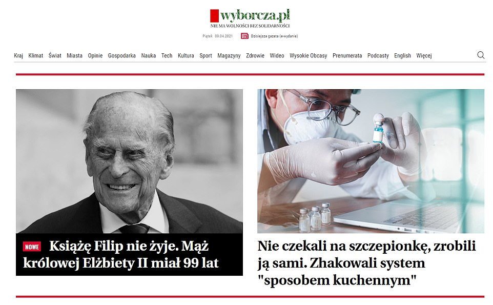 Poland's Gazetta Wyborcza wrote: 'Prince Philip is dead. Queen Elizabeth II's husband was 99 years old'