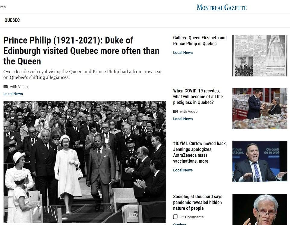 Montreal Gazette: Prince Philip (1921-2021): Duke of Edinburgh visited Quebec more often than the Queen