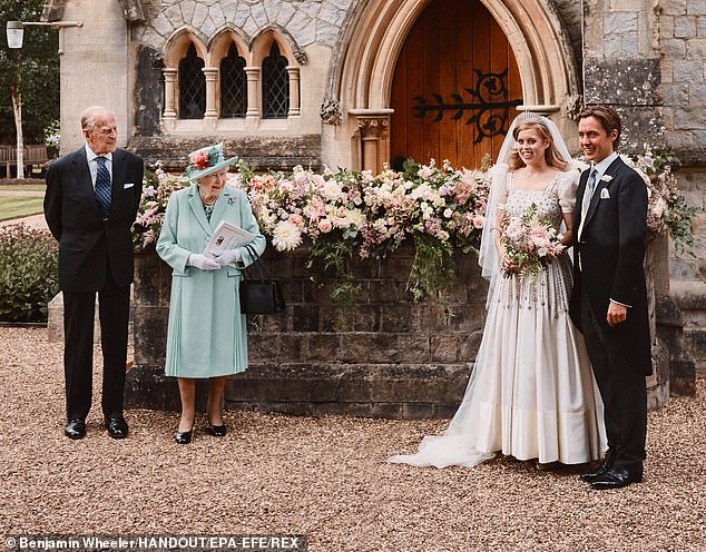 The Duke of Edinburgh had a special bond with his grandchildren and made one of his last public appearances at Beatrice and Edoardo's lockdown wedding in July 2020, pictured