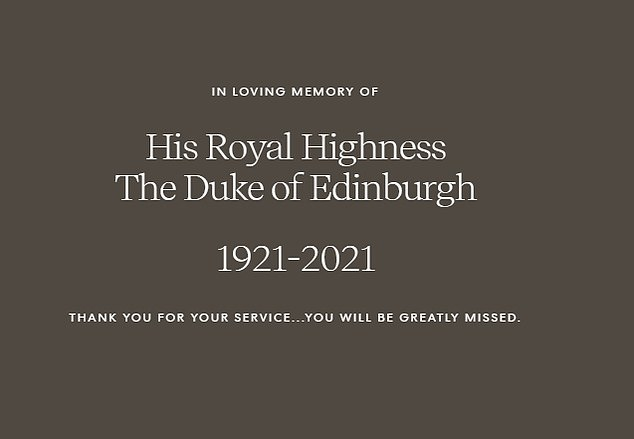 In a post on their Archwell website yesterday, the Duke and Duchess of Sussex said: 'Thank you for your services... you will be greatly missed'