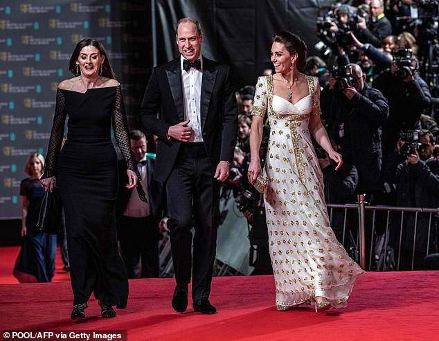 This year's film awards will be presented over two nights in largely virtual ceremonies, with the presenters attending the Royal Albert Hall in London in person for Sunday's broadcast.  Pictured The Duke and Duchess of Cambridge at the 2020 BAFTA Awards)