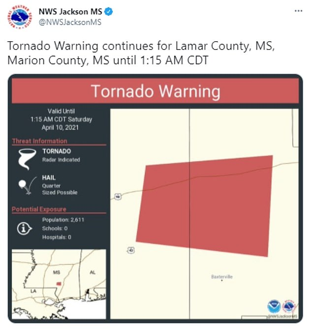 Tornado warnings were issued for areas such as McLaurin, Purvis, Lamar County, Palmers Crossing and McCallum on Friday evening.