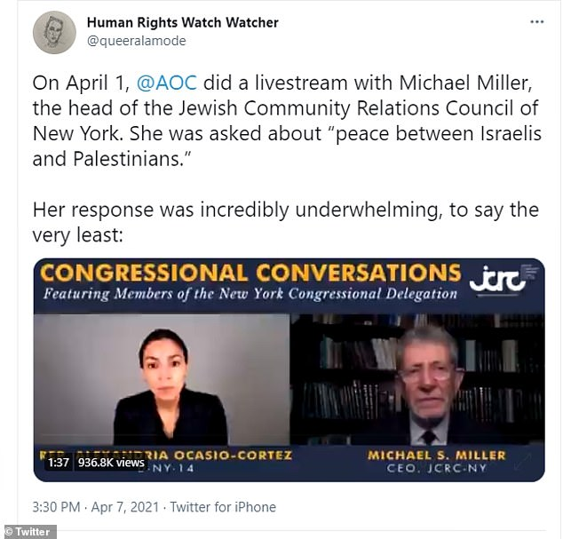 On April 7, he posted a link to an interview where AOC stumbled and struggled to answer questions on how to resolve peace in the Middle East. Wentz called her answers 'incredibly underwhelming'