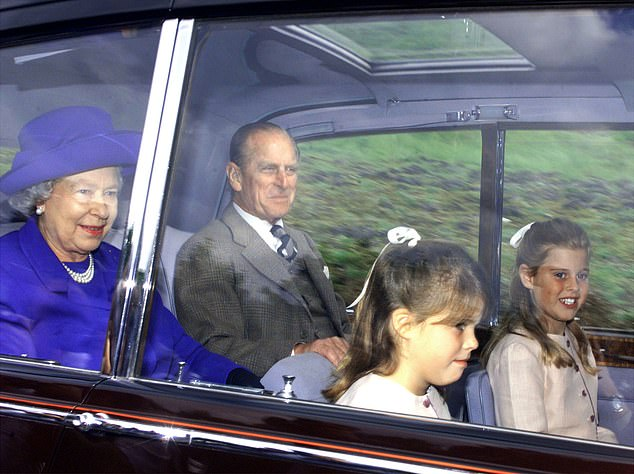 The Queen and Prince Philip, accompanied by Princesses Eugenie (second from right) and Beatrice (far right) arrive for a church service near Balmoral in Aberdeenshire on August 30, 1998