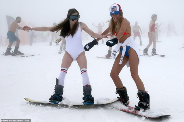 Most revellers took to the slopes in swimming suits, shorts and bikinis without a mask in sight during the Covid pandemic