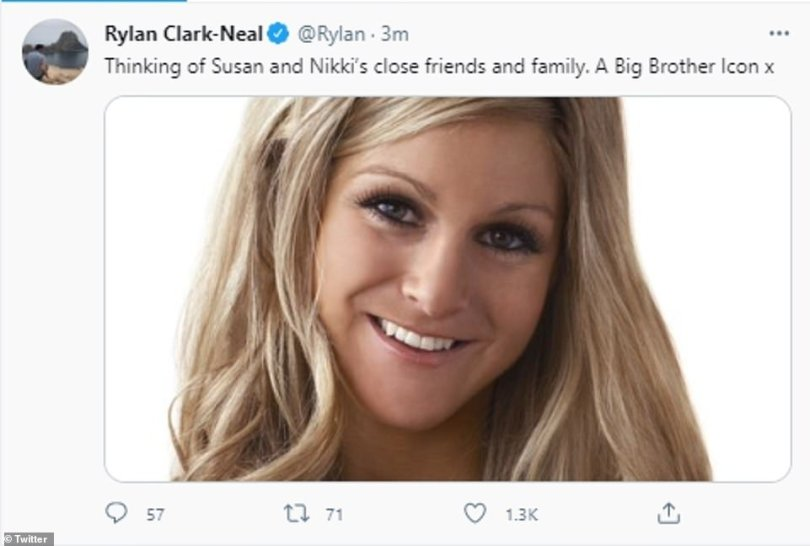 Gone too soon: While Rylan, 32, who presented Big Brother's Bit On The Side shared an image of Nikki alongside the words: 'Thinking of Susan and Nikki's close friends and family. A Big Brother Icon x'