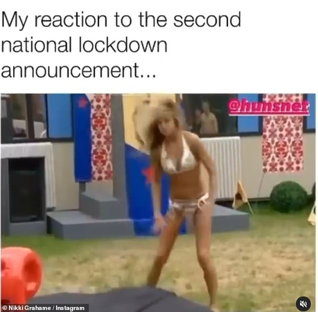 Not happy:Alongside a video montage of some of her infamous tantrums in the Big Brother house, she wrote: 'My reaction to the second national lockdown announcement'