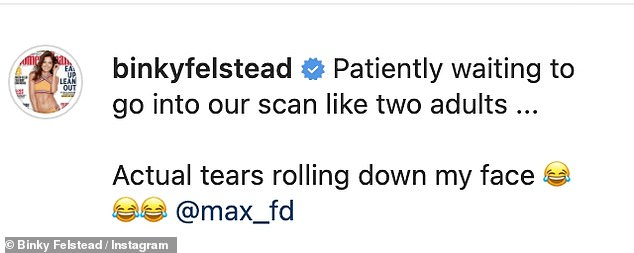 Funny: `` I wait patiently for our scan like two adults ... Real tears are running down my face ''