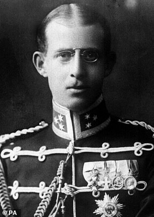 It details how Prince Andrew of Greece (pictured), Philip's father, introduced a baby boy to the priest, who he said was born at 10 a.m. on May 28, 1921.