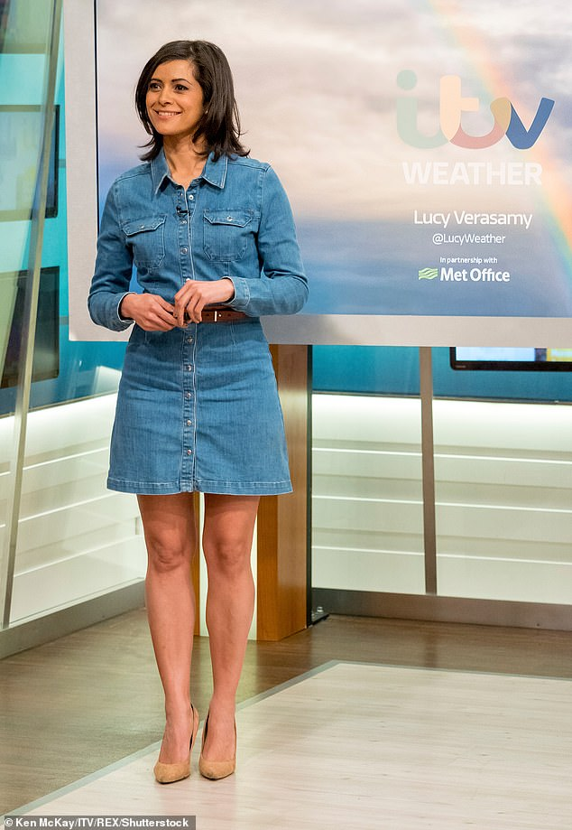 Work: The meteorologist, 40, showed off her golf swing in the snap which was taken last summer