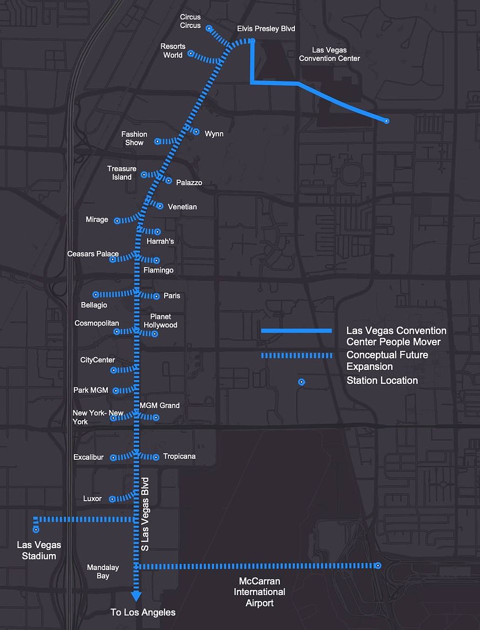 The 0.8 mile tunnel runs from the Convention Center to the city's famous Strip - but could be expanded in the future