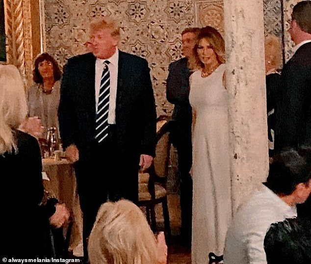 A picture posted on social media shows former President Donald Trump and First Lady Melania Trump arrive for dinner on Saturday at the Trump Mar-a-Lago Resort, where Republican National Committee donors gathered