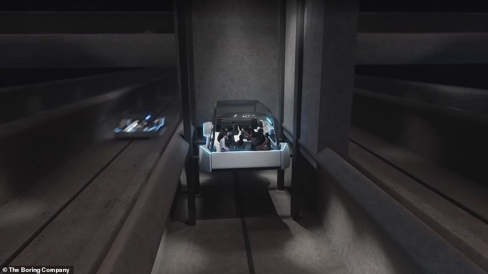 A computer model of the Las Vegas tunnel, which will transport passengers in small, autonomous vehicles, each holding eight to 16 passengers although there is no sign of this yet