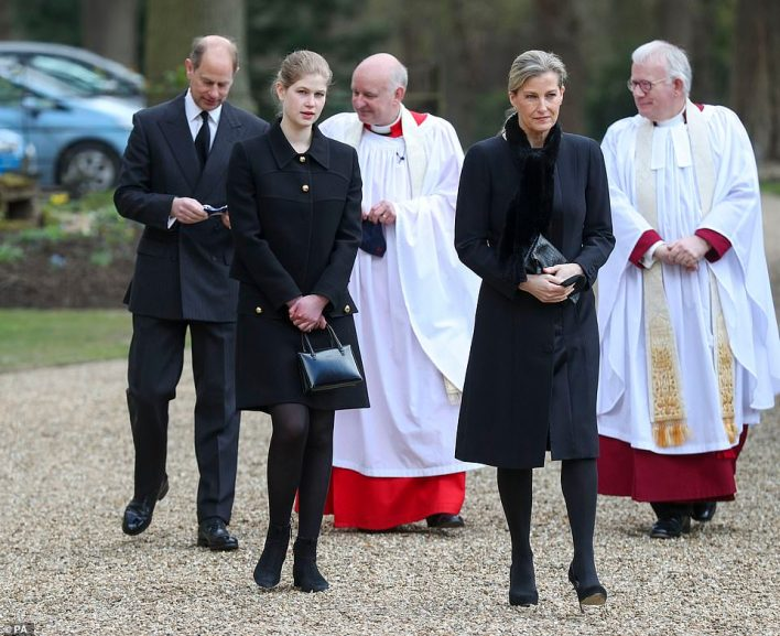 The Earl and Countess of Wessex, with their daughter Lady Louise Windsor, attend the Sunday service at the Royal Chapel of All Saints at Royal Lodge, Windsor
