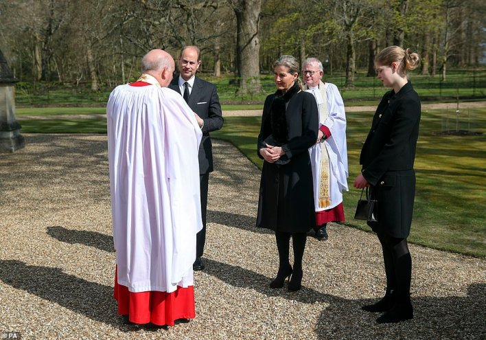 Canon Martin Poll, chaplain to Windsor Great Park, greeted Edward, Sophie, their teenage daughter and Andrew before the service today